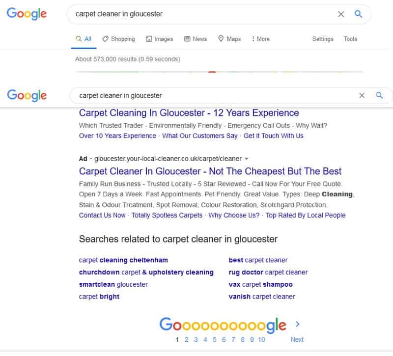 screenshot of a Google search for a carpet cleaner in Gloucester and the related searches.