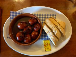 Chorizo in red wine and Wye Valley honey served with bread and butter